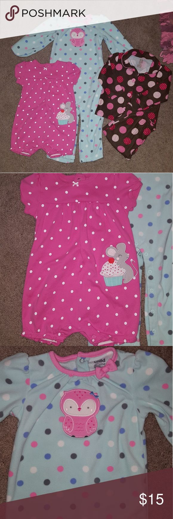Carter's bundle Child of Mine (Carter's) Bundle   Pink polka dot romper w/mouse NWOT owl polka dot one piece NWOT brown w/pink polka dots pj's RUN  Smoke and pet free home *bundle for discount * Carter's One Pieces