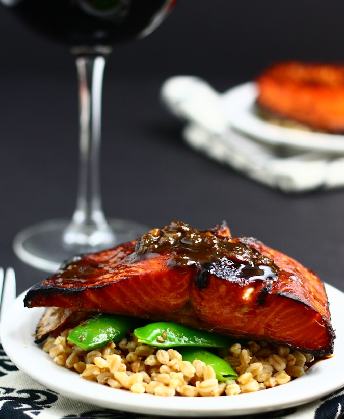 Salmon - Maple Soy Glazed  •1/4 c. soy sauce   •1/4 c. maple syrup   •1 Tbsp minced ginger   •2 scallions, chopped   •2 garlic cloves, minced