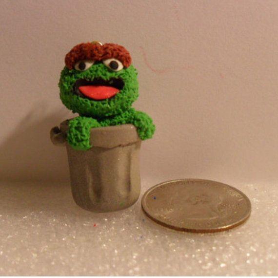 Polymer Clay Elmo Charm by ClayDreamery on Etsy