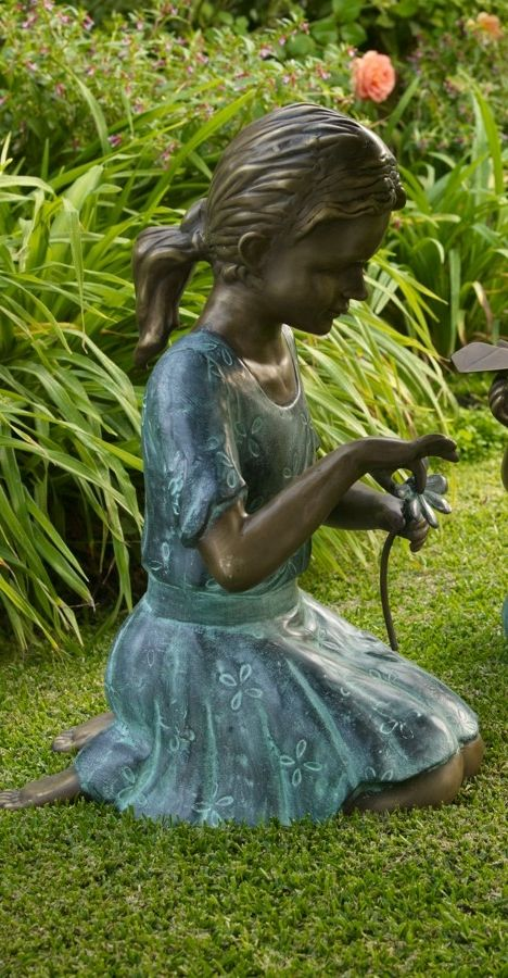 Adding A Little Sugar And Spice To Garden Areas, Our Girl Plucking Flower  Petal Statue