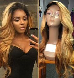 "http://www.shorthaircutsforblackwomen.com/what-are-the-best-hair-extensions/ Sexy Ombre Lace Front Wig Kanekalon Hair Synthetic Hair Wig Heat Resistant 26"" 150%Density Dark Roots Blonde Front Lace Wig Wholesale"