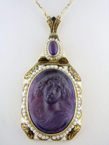 Antique Art Nouveau Cameo and Pearl Pendant