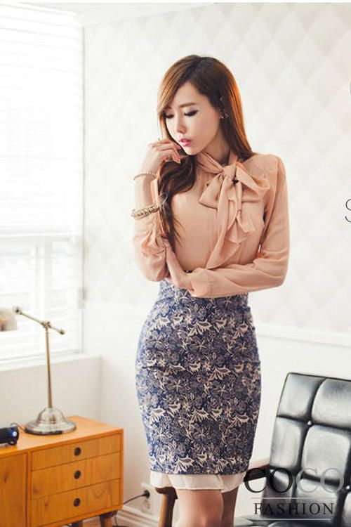 Pink Long Sleeves Ellegant Office Blouse with Self Tie Ribbon