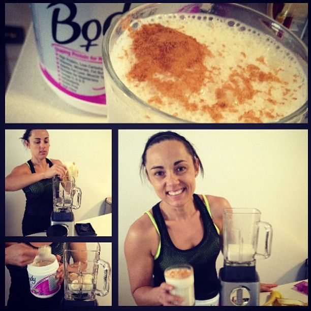Todays protein shake... Mixing up @BodyScience International vanilla protein for women with banana, cinnamon