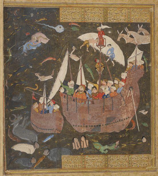 Key Khosrow crosses the Sea of Zareh Ferdowsi, Shahnameh Safavid: Shiraz, c.1580  Scribe: Hedayat-Allah al-Shirazi  Opaque watercolour, ink and gold on paper  London, British Library, MS I. O. Islamic 741, vol. I, fol. 326r