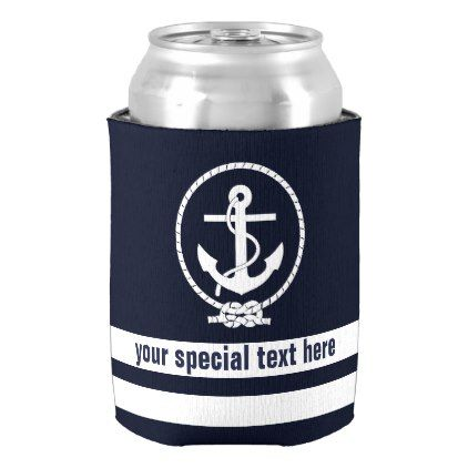 Nautical Anchor Pattern Monogram with Add text Can Cooler - personalize gift idea special custom diy or cyo