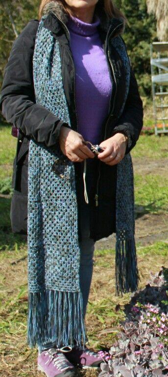 Sciarpa di quadrati di lana