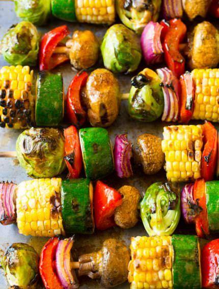 Grilled Fajita Vegetable Skewers   ASpicyPerspective.com