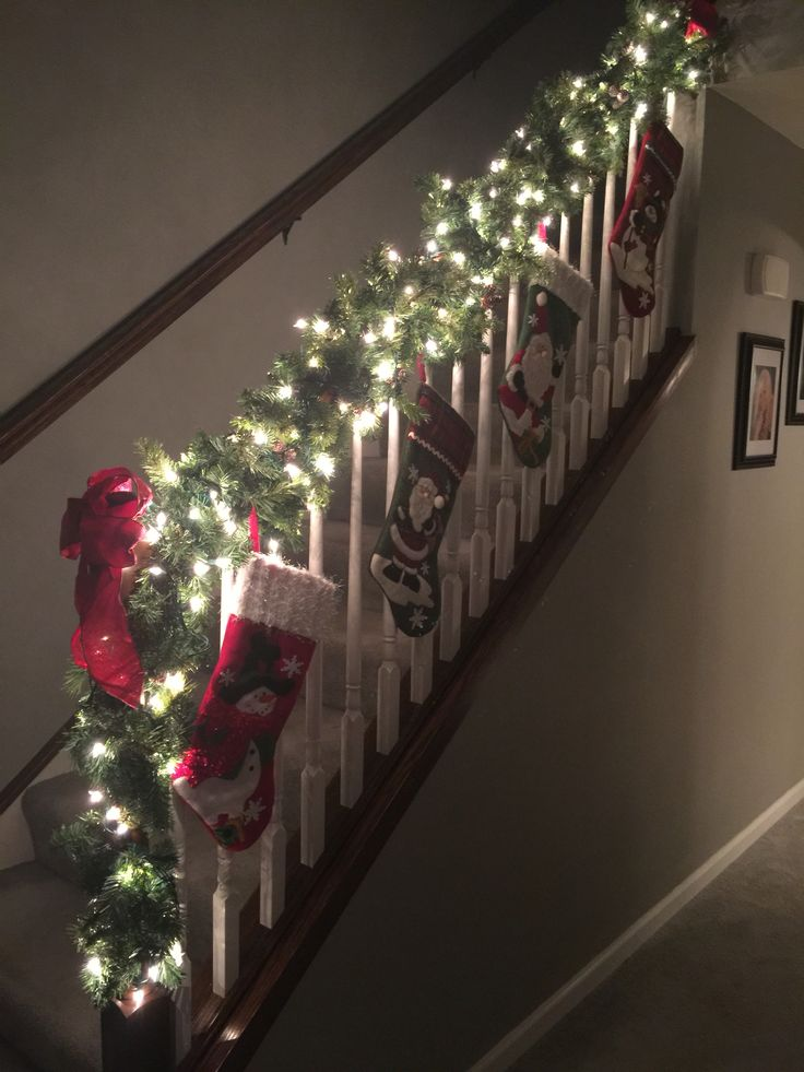 Christmas, staircase, garland, Tis the season, the most wonderful time of the year, stockings