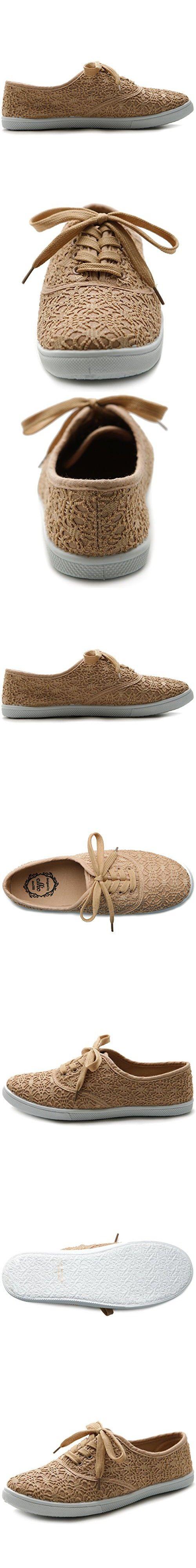 Ollio Women's Ballet Shoe Lace Up Sneaker Canvas Flat (9 B(M) US, Tan)