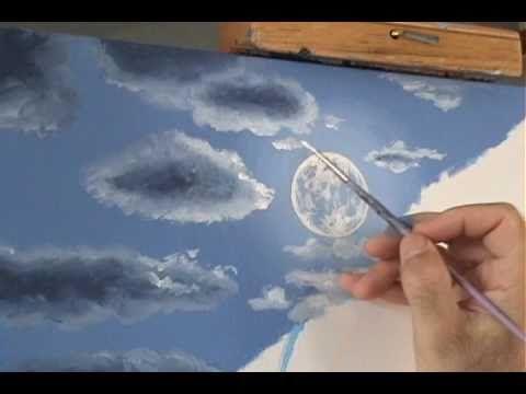 ▶ Cómo Pintar la luz de la luna un paisaje de noche y las nubes lección de pintura acrílico - YouTube
