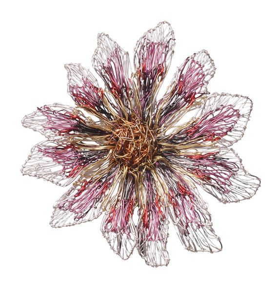 Pink #Flower #Brooch Flower #Jewelry #Gerbera #daisy #Bridal Brooch Metal flower #sculpture #Wire #Art Jewelry Big brooch #Contemporary Jewelry #Ooak  $413.90 USD