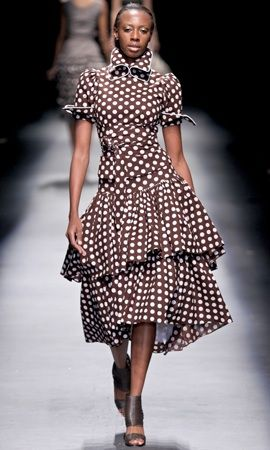 Not really shweshwe but the brown polka dots is gorgeous    (By Bongiwe Walaza)
