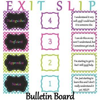 Exit Slip Bulletin Board Set