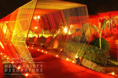 red and gold tunnel entrance , sheer cloth, enchanting entrance , grand entrance