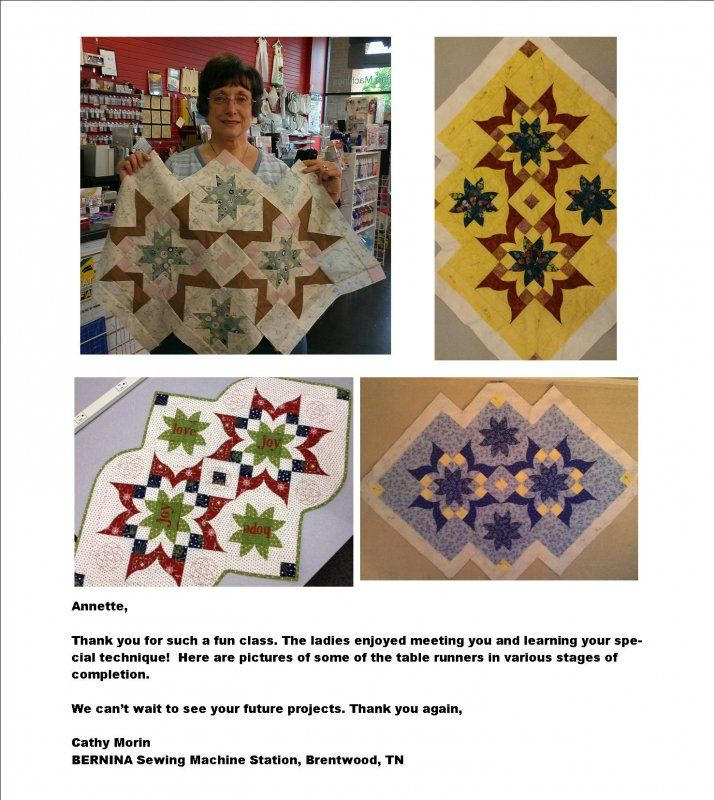 Several Victorian Table Runners I taught at at a workshop for BERNINA Sewing Machine Station, Brentwood, TN. www.southwindquil...