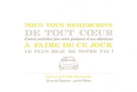 Carte de remerciement de mariage (wedding thank you card) : Voiture de collection - by Tomoë pour http://www.fairepart.fr #mariage #wedding