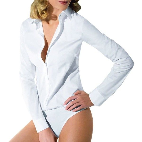 Y&Z Women Classic Winter Bodysuit Blouse Shirt One-piece Leotards YZ56 White/Black (225 HKD) found on Polyvore