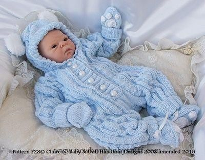 Baby Knitting Patterns Bunny/Teddy All-in-one 17-24 inch doll/newborn/0-3m baby-all...
