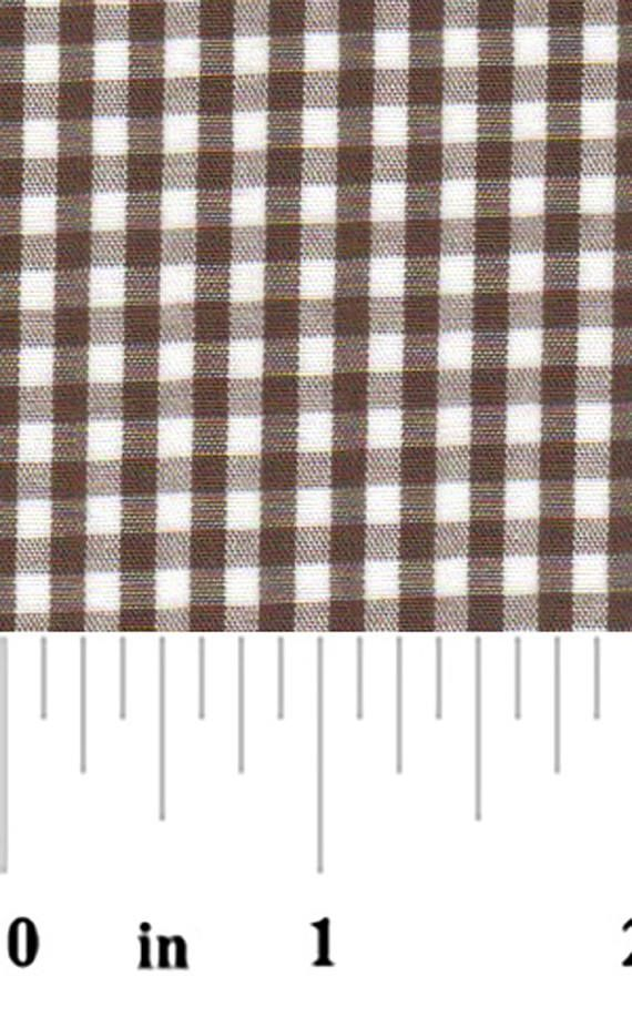"Fabric Finders 1/8"" Chocolate Brown White Gingham Check Quilting Apparel Applique Fabric By The Yard"