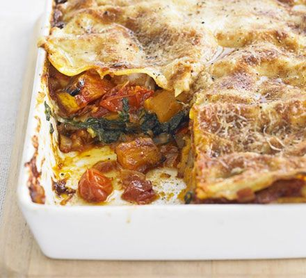 Roast pumpkin & spinach lasagne - have made this so many times (admittedly I cheat on the sauces) but it's absolutely delicious. I also add a layer of cherry tomatoes near the top, under the last layer of pasta. It makes such a difference.