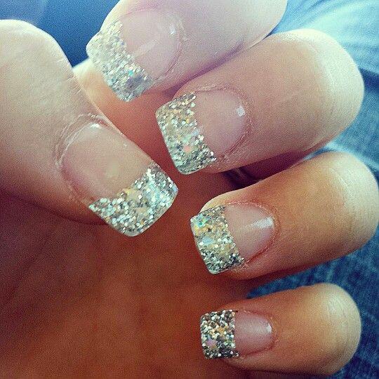 Silver glitter star tip acrylic nails | N A I L S & M A K ...