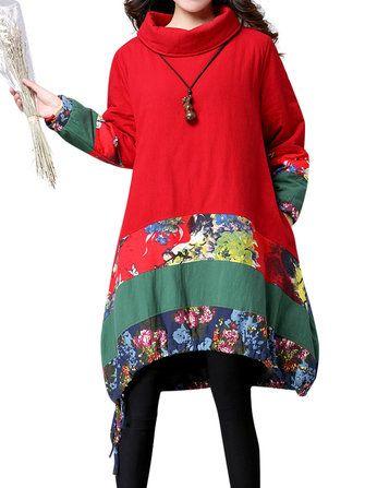 Vintage Turtleneck Patchwork Print Long Sleeve Cotton-padded Loose Dress