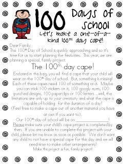 """Cute and CHEAP idea!!!  Mrs. Miner's Kindergarten Monkey Business: """"Super"""" Fun, New Twist on an Old 100th Day of School Project--a 100 Day cape"""