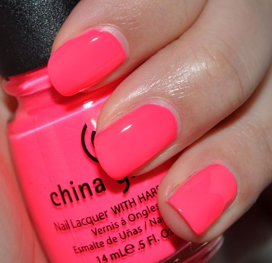 china glaze pool party. use a thin layer of white polish as a base or this color will chip in less than a day!