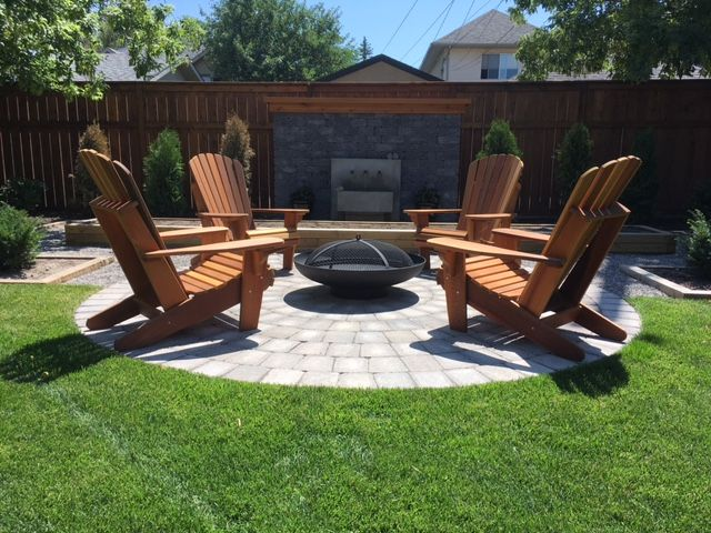 A beautiful backyard setting with a clean and simple Tureen Design firepit from Muskokafirebowls.com Heavy duty construction built to last!