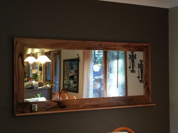 Recycled timber mirror with bottom shelf