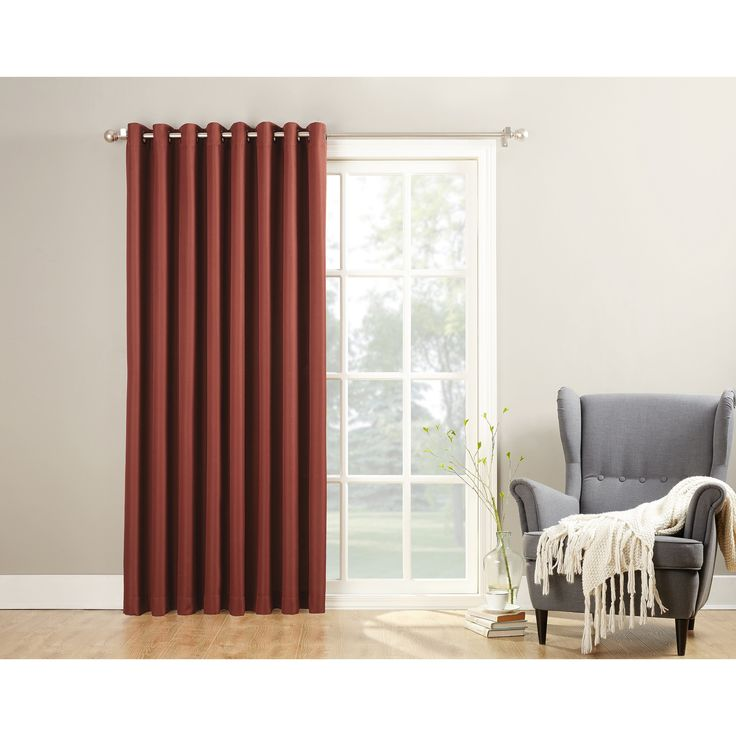 No. 918 Montego Patio Extra-wide Casual Textured Grommet Patio Door Curtain Panel (Paprika 84 inch), Red, Size 84 Inches (Polyester, Solid)