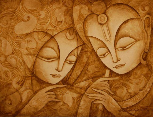 radha krishna, could be done with coffee painting