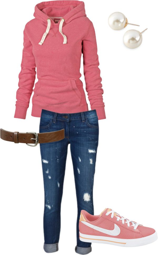 Pink Hoodie + Brown Belt + Distressed Skinny Jeans + Pink Sneakers