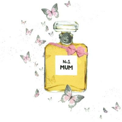 "Mother's Day card illustrated with a bottle of perfume labelled ""No 1 Mum"""