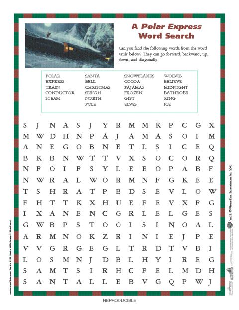 Polar Express word search - This would be so fun for Christmas parties as we have little ones we like to include.