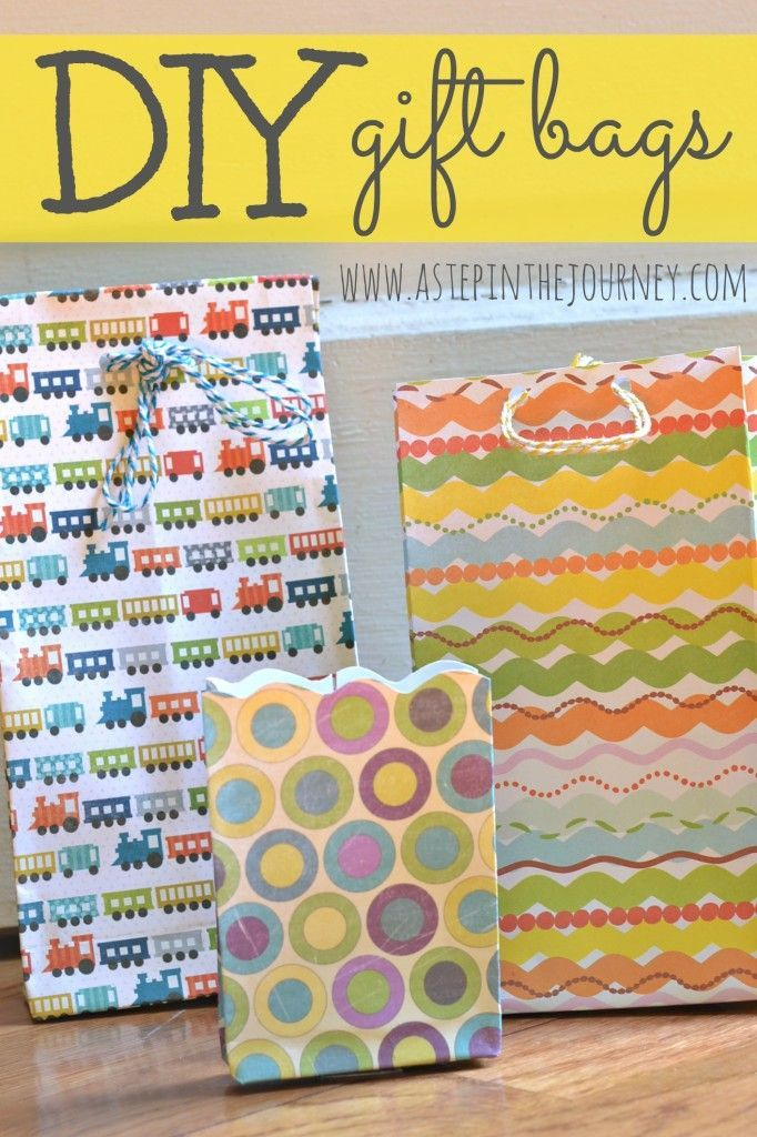 DIY gift bags using scrapbook paper...just a little folding and some tape