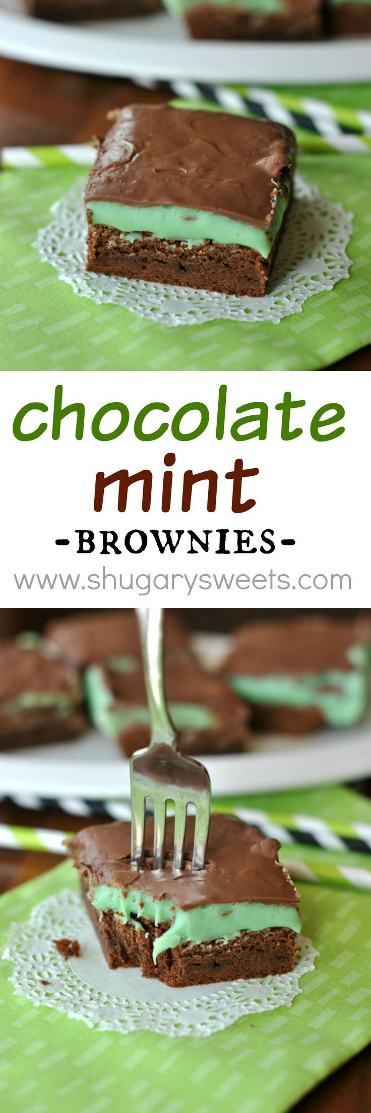 Chocolate Mint Brownies: rich, fudgy brownie base topped with a mint ganache and melted milk chocolate