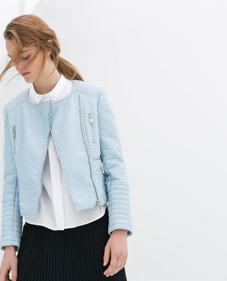 PASTEL COLOURED FAUX LEATHER ZIP JACKET from Zara