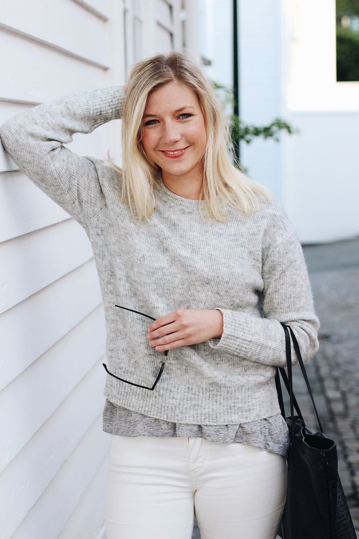 Grey knit and white jeans
