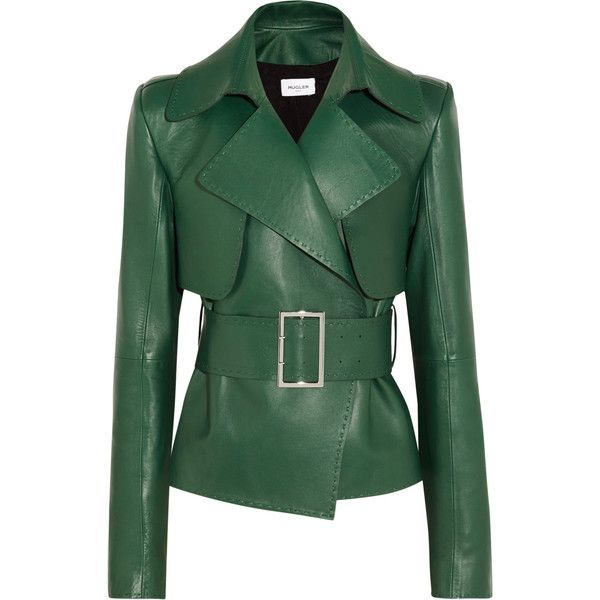 Mugler Belted leather biker jacket ❤ liked on Polyvore featuring outerwear, jackets, leather motorcycle jacket, real leather jackets, green jacket, rider jacket and genuine leather jackets