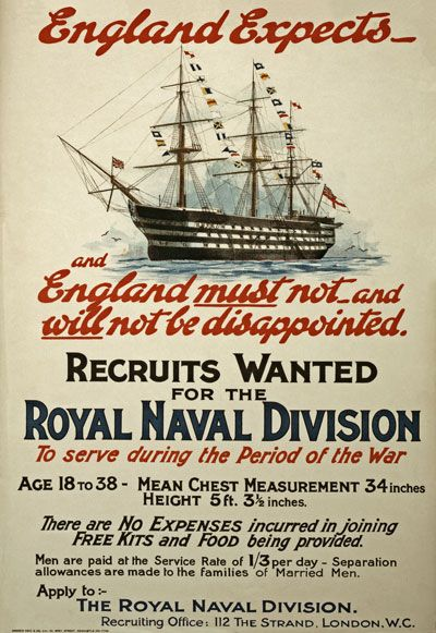 England Expects . Recruits Wanted for the Royal Naval Division.