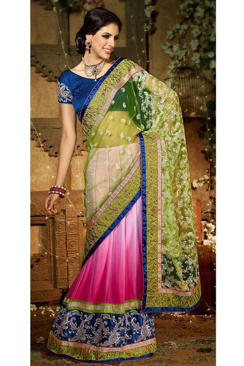 Get this ravishing Green, Deep Pink Net Lehenga Style Saree @ FLAT 50% off. No coupon code required.