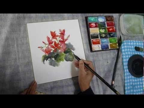 水墨画(sumi-e)福寿草の描き方動画 - YouTube