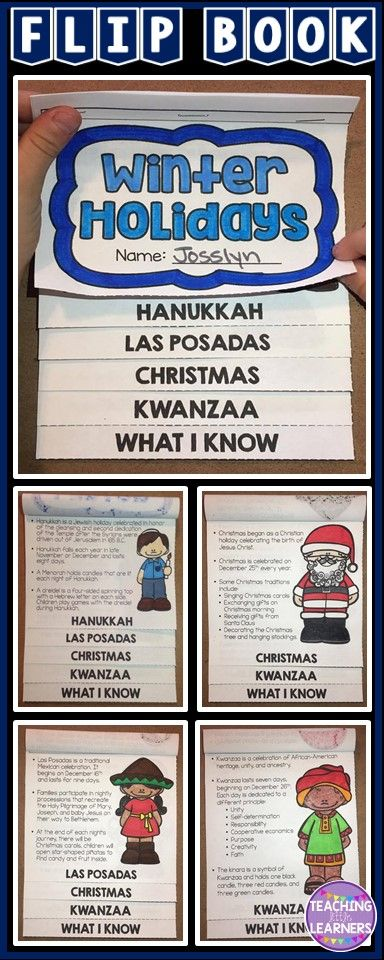 Winter Holidays flip book! Hands on resource to supplement your Hanukkah, Las Posadas, Christmas, and/or Kwanzaa lessons.