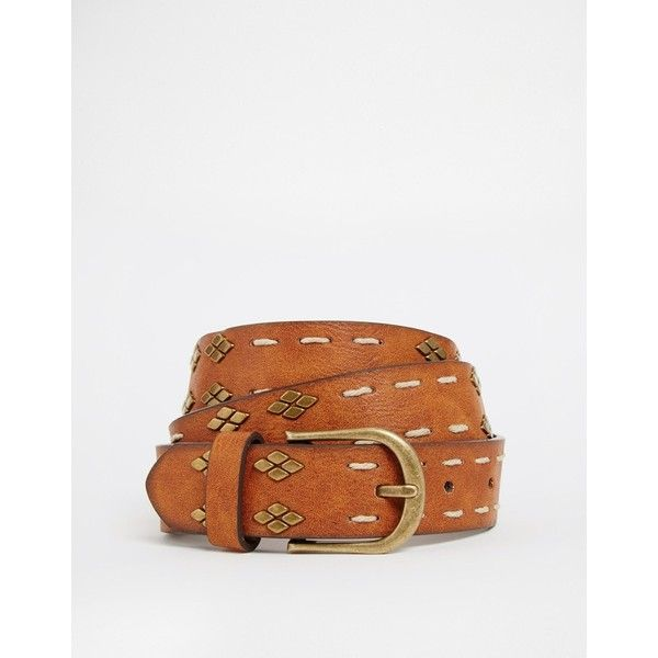 ASOS Studded Vintage Tan Waist And Hip Belt (€16) found on Polyvore