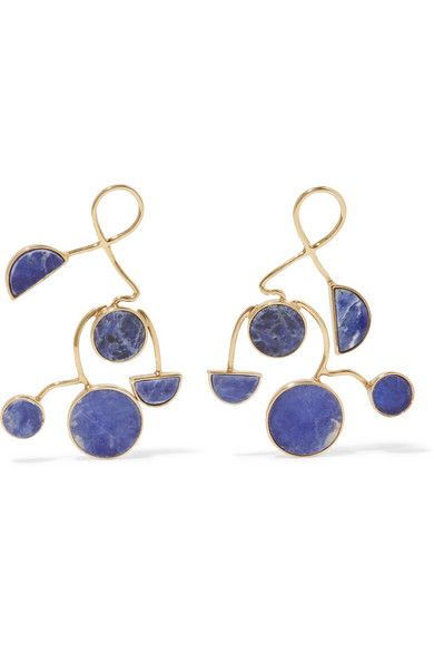 Paola Vilas Ray Earrings Are Inlaid With Slices Of Blue Sodalite That Look Like The Night Sky A Stone Believed To Bring Emotional Balance And Enhance