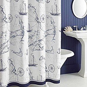 Eanshome navy and white nautical style pattern polyester fabric decorative shower curtain: Amazon.co.uk: Kitchen & Home