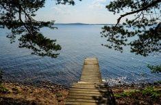 Dock on lake stock photo