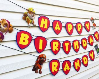 Personalized Paw Patrol Birthday Party Banner, Paw Patrol Party Banner, Paw Patrol Birthday Party Decoration, Paw Patrol Party Supplies, Dog by LittleMichaels